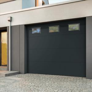 porte garage sectionnelle lisse avec hublots JADE